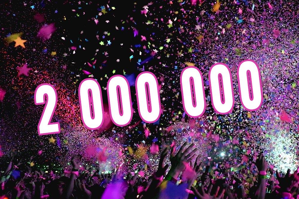 Nu har vi nått fantastiska två miljoner sedan vi startade sajten