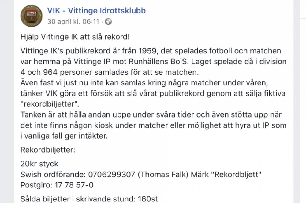 Vittinge IK vill slå ett 61 år gammalt publikrekord